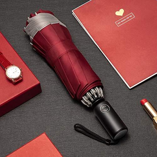 Mdsfe Paraguas automático Paraguas de Negocios Plegable inverso con Tiras Reflectantes Paraguas Lluvia para Hombres Mujeres Parasol Masculino a Prueba de Viento - Rojo Oscuro