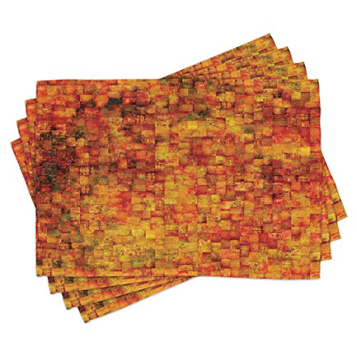 ABAKUHAUS Arancia bruciata Tovaglietta Americana Set di 4, Vintage Mosaico Grunge, Tovagliette in...
