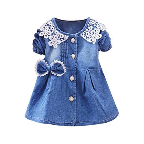 Longra Baby Sommerkleider Mädchen Kleider Jeanskleider mit Bowknot Mädchen Spitze Kleider Denim Kleider Prinzessin Kleider Festliche Babymode Mädchen Kleidung (Blue, 100CM 24Monate)