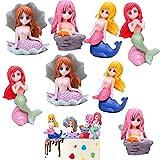 Pastel de Sirena, 8 Piezas Sirena Decoracion Tarta, Topper de Pastel de Cumpleaños, para Fiesta de Cumpleaños, Baby Shower y Fiesta de Bodas
