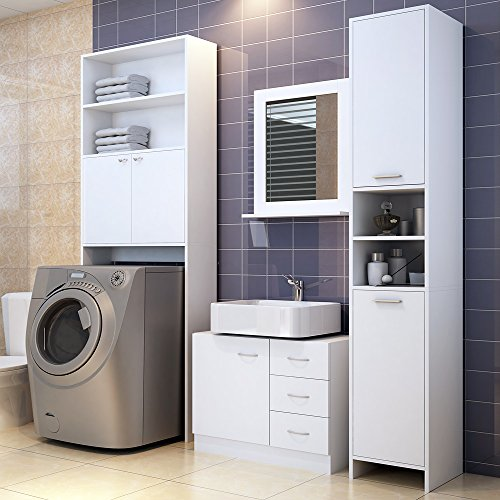 Deuba Badmöbel Set Waschbeckenunterschrank Badezimmerhochschrank Waschmaschinenschrank Farbe weiß