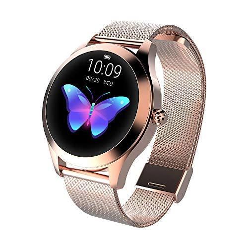 FBLWT Smartwatches Reloj Inteligente para Mujer Kw10 Color Ip68 Señoras Fitness Tracker Pantalla Táctil Redonda - Cinturón De Acero Dorado