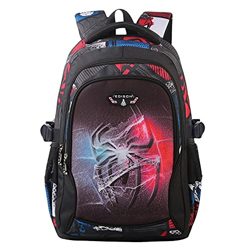 Spider-Man Batman Rucksäck 3 Schichten,Basketball Kinder Schultasche,Wasserdicht Schulrucksack Taschen,mädchen Jungen Rucksäck Großer Raum (Spider-Man, Grundschule)