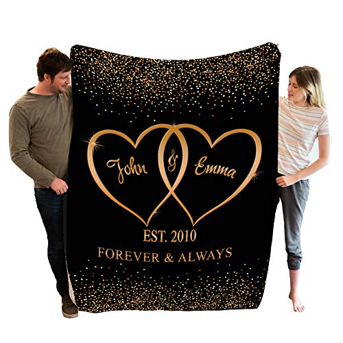 """Stylish Gears Personalized Blankets for The Closest One to Your Heart Custom Blanket Couple, Custom Couple Gifts (Size- 60""""x80"""")"""