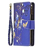 Blllue Wallet Coque Compatible with LG K42, [Zipper Pocket] Colored Drawing PU Leather Cover with 9...