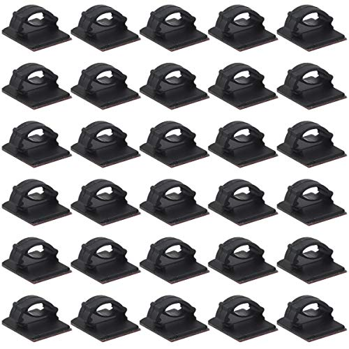 50 clips negros para cables de pared, autoadhesivos, para debajo de la...