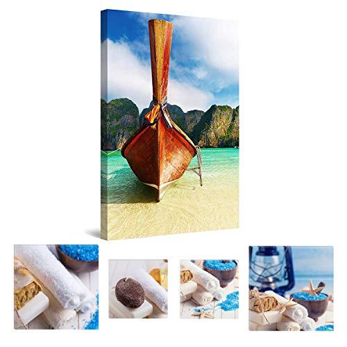 Eco Light Wandkunst Leinwand Bundle nachleuchtende Boot in der Bucht von Maya, 80 x 120 cm und Spa Collage Set von 4, Leinwandbild für Wanddeko und Wohnzimmer Artwork modernen gerahmt