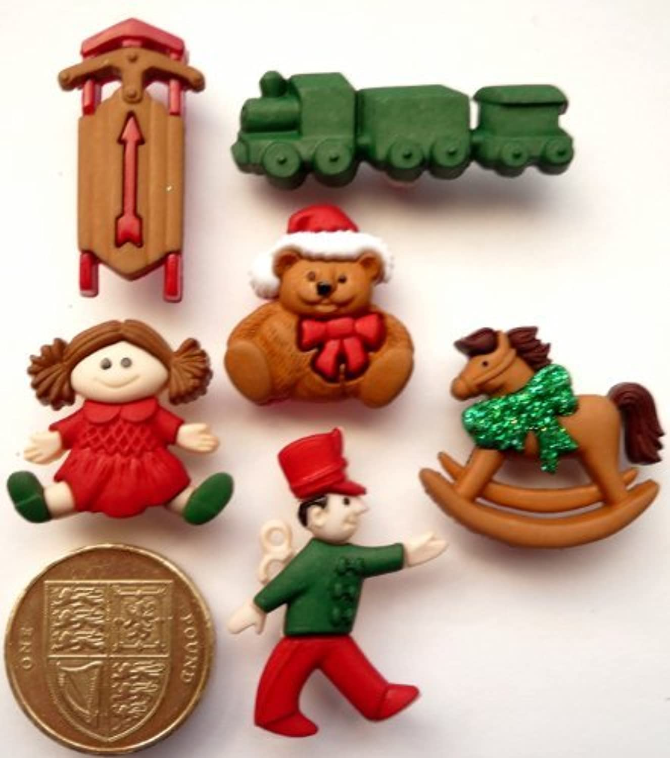 Christmas Toys - Novelty Craft Buttons & Embellishments by Dress It Up by Jesse James
