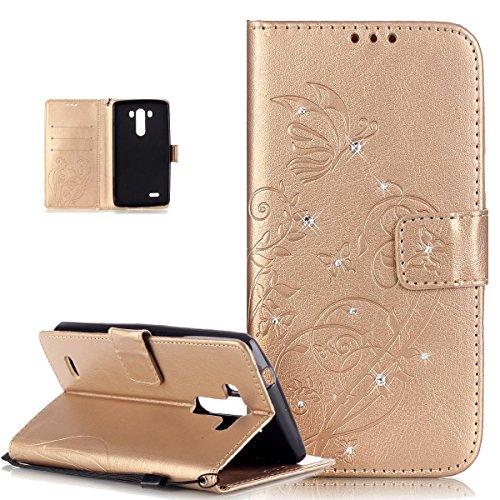 Kompatibel mit LG G3 Hülle,LG G3 Lederhülle,ikasus Strass Glänzend Prägung Blumen Reben Schmetterling Muster PU Lederhülle Handyhülle Taschen Flip Wallet Ständer Etui Schutzhülle für LG G3,Golden
