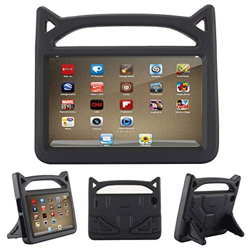 Riaour Kids Shock Proof Protective Cover Case for 7 Tablet (5th Generation 2015 / 7th Generation 2017) (Black)