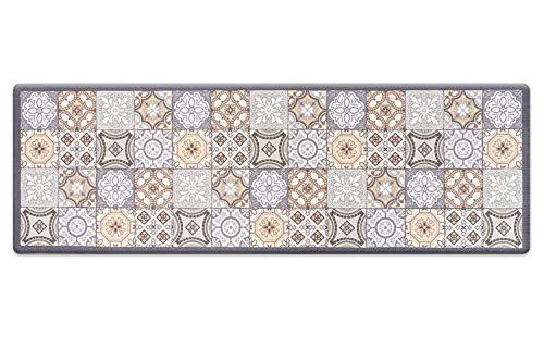 Küchenläufer Küchenmatte rutschfest Wasserdicht Pflegeleicht 60x180cm, PVC Anti-Müdigkeit Küchenteppich (Fliesen)