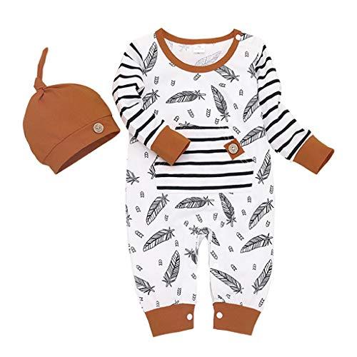 Julhold Säugling Baby Mädchen Junge Mode Feder Gestreiften Freizeitspielanzug Overall mit Tasche Kleidung Hut Set 0-24 Monate