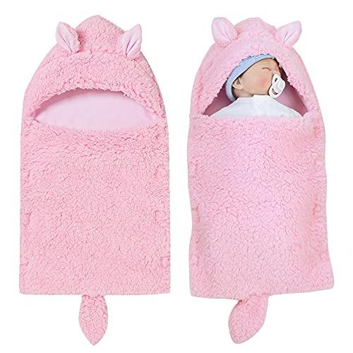 Baby Schlafsack Mit Kapuze Swaddle für Kinderwagen Neugeborene Winter Weiche Warmen Schlafsack 0-12M Babys für Mädchen und Jungen (Rosa)
