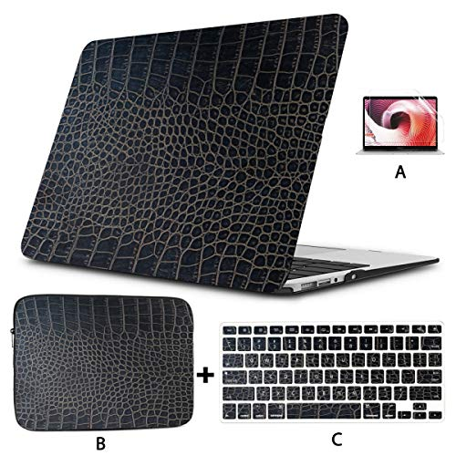 13inch MacBook Air Case Fashion Printed Crocodile Skin Laptop Shell Case Hard Shell Mac Air 11'/13' Pro 13'/15'/16' with Notebook Sleeve Bag for MacBook 2008-2020 Version