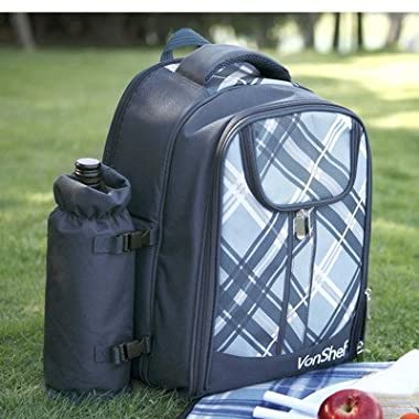 VonShef 4 Person Blue Tartan Picnic Backpack Bag With Cooler Compartment, Detachable Bottle/Wine Holder, Fleece Blanket, Flatware and Plates