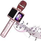 QCHEA Karaoke del micrófono inalámbrico, Audio Home Uno de televisión Alrededor de Todo Dispositivo de condensadores en Vivo Set con Luces LED de Colores, Compatible con Android y Dispositivos iOS