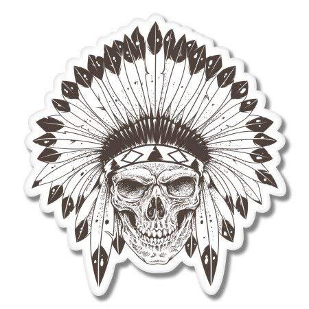 AK Wall Art Indian Chief Skull Headdress Vinyl Sticker - Car Phone Helmet - Select Size