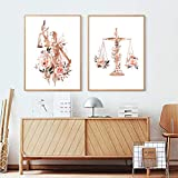 YQLKC Prints Law Office Decor Painting Attorney Lawyer Gift,Watercolor Floral Canvas Poster Law...