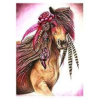 初心者アーティスト - 水彩アクリル塗料油絵工芸品の装飾ギフト-3馬のための大人巻きキャンバスキット (色 : Flower horses, Size : 50x60cm)