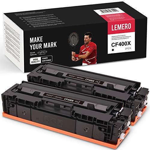 2 cartuchos de tóner compatibles con HP 201X 201A CF400X CF400A XL para HP Color Laserjet Pro M250 Series M252 M252N M252DN M252DW M270 Series MFP M274N M274DN M277N M277DW (negro)