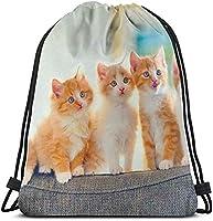 ナップサック 5匹の猫子猫かわいいペット巾着バックパックストリングバッグサックパックシンチ防水ポリエステルジムパックキャンプハイキング用36 x 43cm
