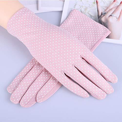 Guantes de algodón de Verano para Mujer a la Moda, Guantes de conducción con Pantalla táctil UV de Punto de impresión de Color sólido, Transpirable, Antideslizante, para Mujer-Dot Deep Pink