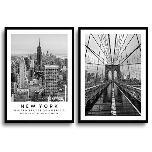 MONOKO® Wohnzimmer Poster Set - Premium Bilder Set für Schlafzimmer - Stilvolle Wandbilder - 2er Set ohne Rahmen (New York, Schwarz-Weiss, 50 x 70 cm)