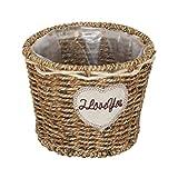 Prevessel Cesta de mimbre tejida a mano, cesta de almacenamiento de ratán natural hecha a mano, gran capacidad, maceta de jardín, organizador de escritorio (L)