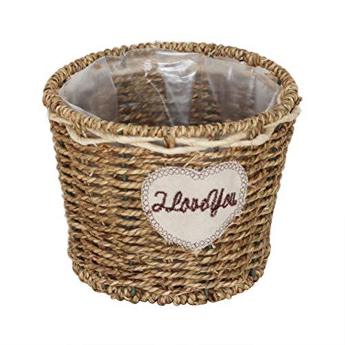 Prevessel - Cesta de mimbre tejida a mano, hecha a mano, cesta de almacenamiento de ratán natural de gran capacidad, maceta de jardín, organizador de escritorio (L)