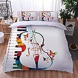 Lanlugg Set De Funda Nórdica 3D Piano de Guitarra de Color Funda De Edredón 3D Imprimiendo, Cremallera Funda Nórdica y Funda de Almohada 140cm x 200cm