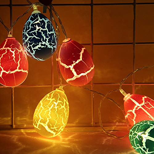 Treer Uova di Pasqua Crepa LED Stringa di Luce, Luci di Fata Batteria Catene Luminose Ideale per Addobbi Festa Interni/Festa/Matrimonio/Balcone/Compleanno (Multicolore,1.5M)