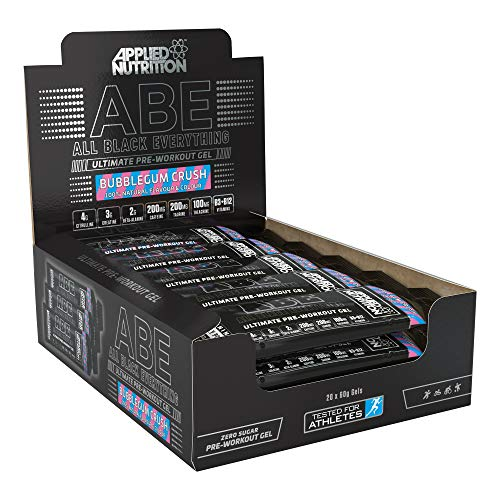 Applied Nutrition ABE Pre Workout Energy Gel, Increases Physical Performance with Citrulline, Creatine, Beta Alanine, Caffeine, Vitamin B Complex - All Black Everything Box 20 x 60g (Bubblegum Crush)