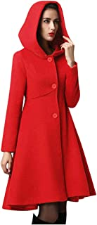 Women Hooded Jacket Coat, Ladies Solid Button Long Sleeve Dress Outwear Waist Pocket Winter Warm Coat