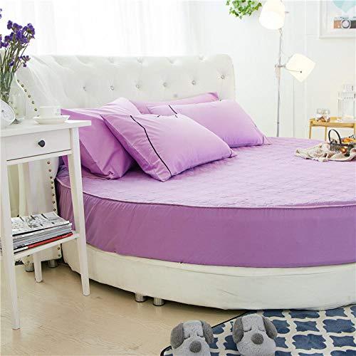 HPPSLT Protector de colchón/Cubre colchón Acolchado de Fibra antiácaros, Transpirable, Cama Redonda de algodón Color sólido Espesamiento-Verde Nieve 1_1,6m