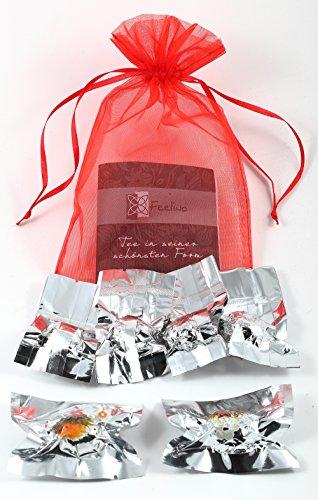 6er-Mix Teeblumen aus Weißtee, Schwarztee- und Grüntee mit natürlichen Calendula, Jasmin, Hibiskus- und Rosenblüten Organzasäckchen - auch als Geschenk zu Weihnachten oder Valentinstag