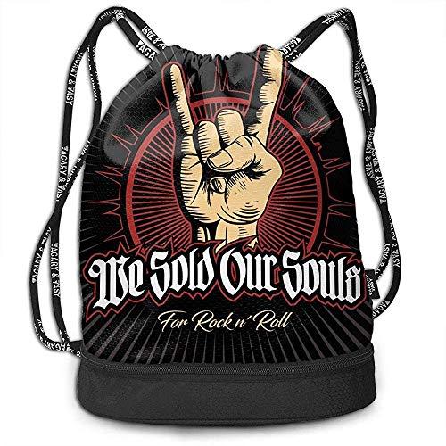 Valender Mochila Mochila con cordón Hard Rock, Heavy Metal, Signo de los Cuernos, Rock Sign Hand, Rock Vector Logo. Bolsas con cordón de Gimnasio