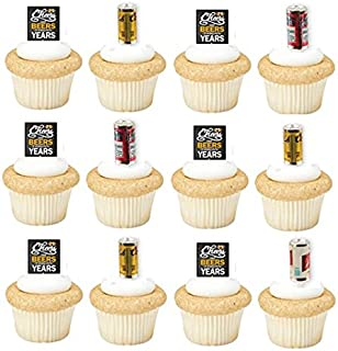 Cheers Beers and Many More Years Beer Cans and Sign 24pk Cupcake Toppers