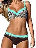 UMIPUBO Bikini Set Deux Pièces Bikini Push Up Maillots De Bain Candy Couleurs Natation Costumes Rayures Beachwear Swimwear Plage Femme (Bleu de lac, L(Buste 95-99))