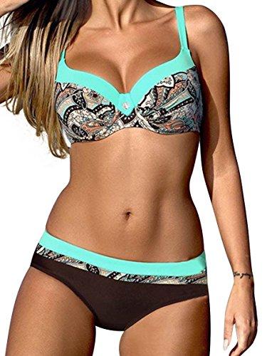 UMIPUBO Bikini Set Deux Pièces Bikini Push Up Maillots De Bain Candy Couleurs Natation Costumes Rayures Beachwear Swimwear Plage Femme (Bleu de lac, M(Buste 88-91))
