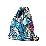 Alpaca Go Drawstring Bag Water Resistant Floral Leaf Lightweight Gym Sackpack for Hiking Yoga Gym Swimming Travel Beach (D - Blue)