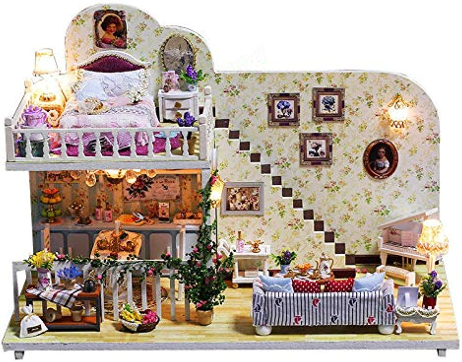 Global Brands Online iiecreate K023 Amsterdam Village Cottage DIY Dollhouse With Furniture Light Cover Gift House Toys
