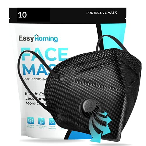Face Mask With Valve - 10pcs Black Face Mask - 5 Layers - Disposable Face Mouth Covers Non-Woven Breathable Face Masks Respirator