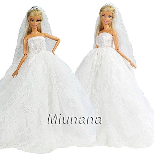 Miunana 1 Vestido Novia Ropa Vestir Boda + 1 Velo como Regalo para 11.5 Pulgadas 28 -30 CM Muñeca - Blanco