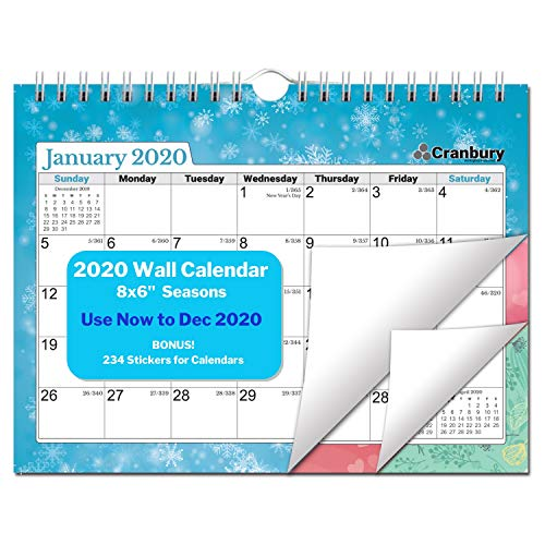 Small Wall Calendar 2020 (8x6, Seasons) Monthly Wall Calendar, Hanging Calendar, Use Now to December 2020, Mini 2020 Calendar for Bulletin Board, with Stickers for Calendars
