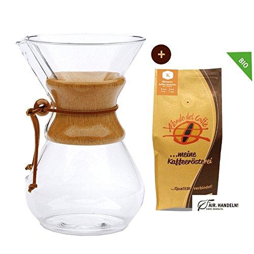 Set Chemex Kaffeekaraffe für bis zu 8 Tassen (1200 ml) mit 250 g Filterkaffee, Mondo del Caffè (Chemex Drip Coffee Maker 8 Cups)