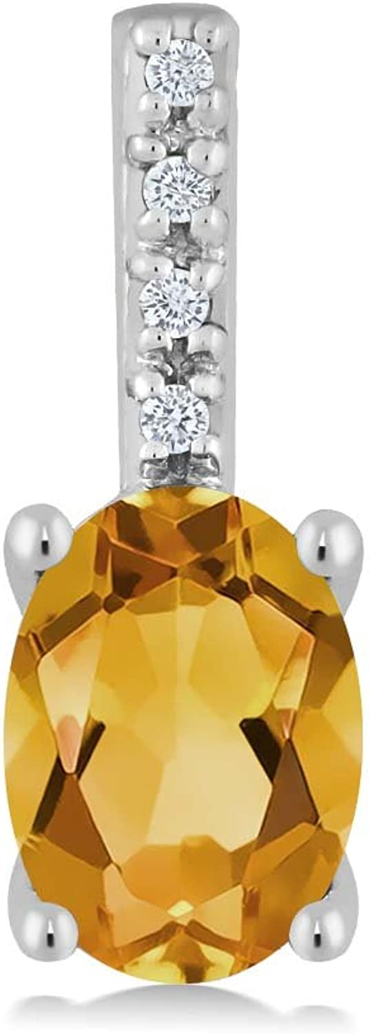 10K White gold Oval Yellow Citrine and Round White Diamond Pendant Necklace (7x5mm center, 0.60 cttw)