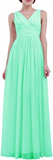 FEESHOW Women's Deep V Neck Chiffon Bridesmaid Long Dress Formal Prom Evening Gowns