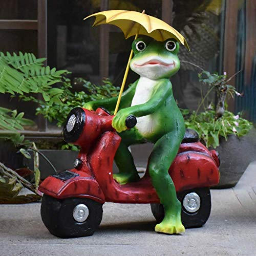 SOLAR FROG STATUE,Woodland Frog Riding A Motorcycle Sculpture,Whimsical Hand-painted Resin Garden Statue,Cute Animal Decor For Garden,Yard,Patio Frog 44x24x50cm