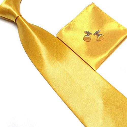 Cravate + Pochette + Bouton de Manchettes Satinée - Or - Neuf