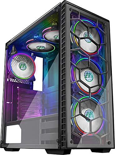 MUSETEX Phantom Black ATX Mid-Tower Chassis Gaming PC Case with USB3.0 and 6pcs 120mm ARGB Fans, 2 Tempered Glass Panels Gaming Style Windows Computer PC Case(903-S6)